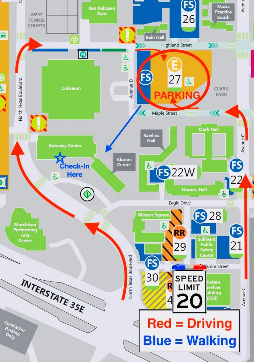 Driving/Walking Map to Lot27 & Check-in Booth 2019 AIA Conference UNT KFAC